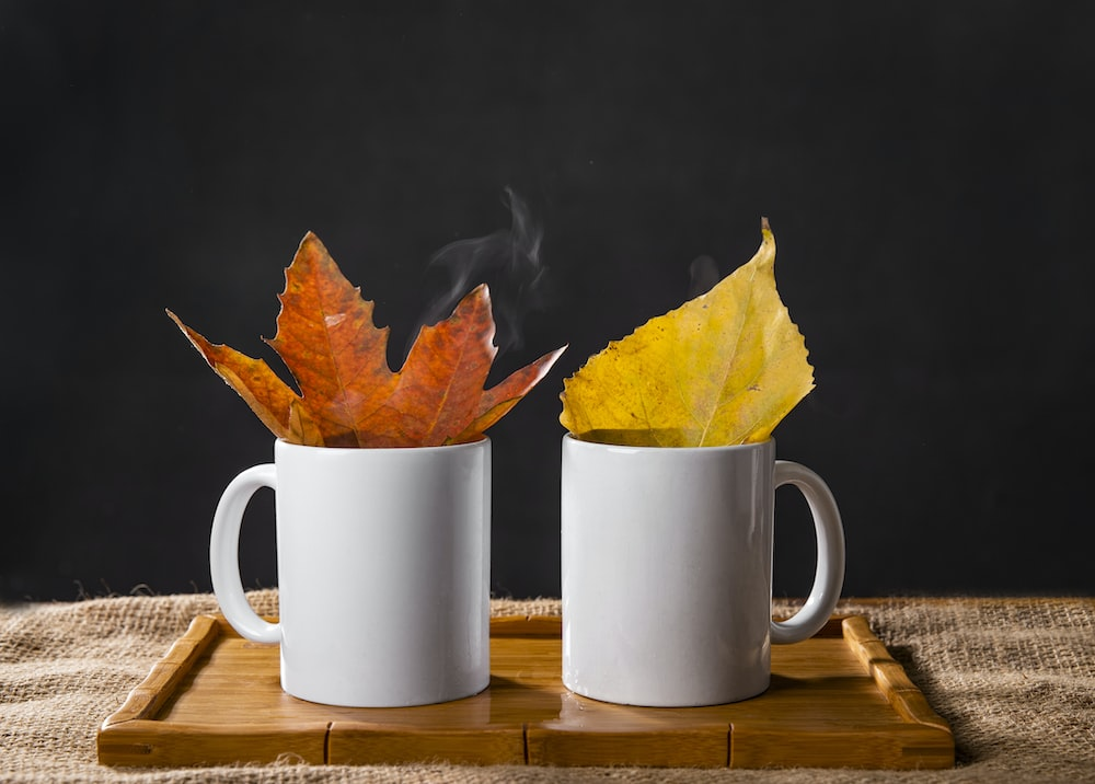 two white ceramic mug with leaves