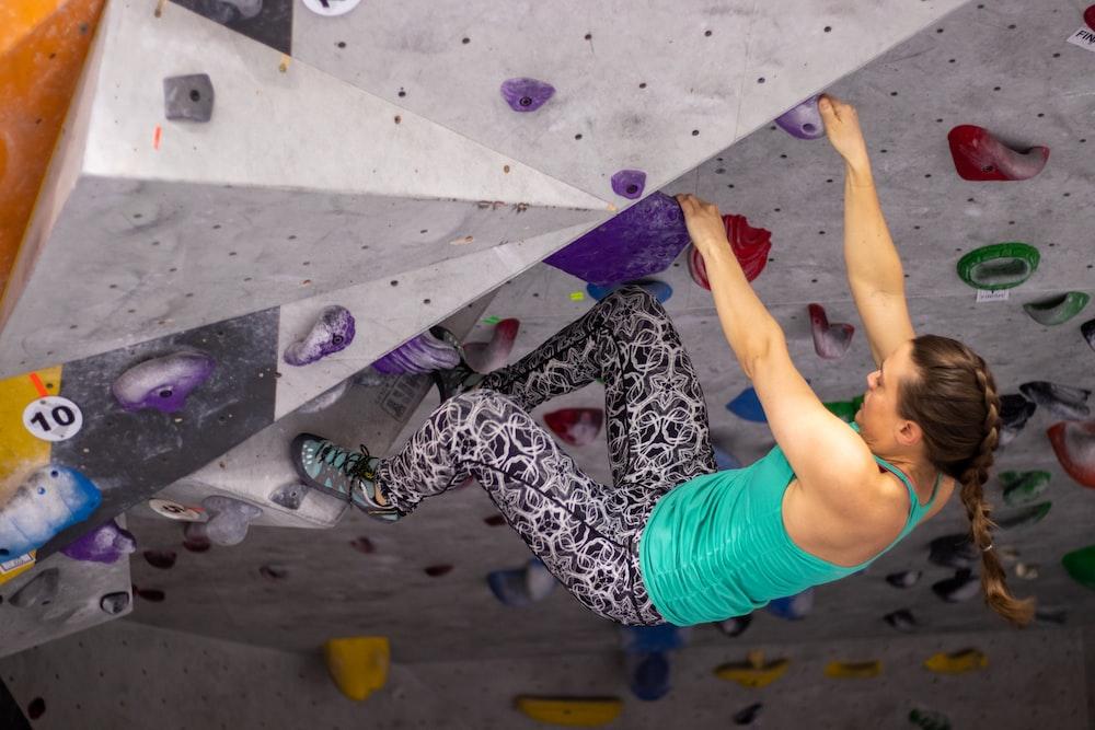 woman in wall climbing