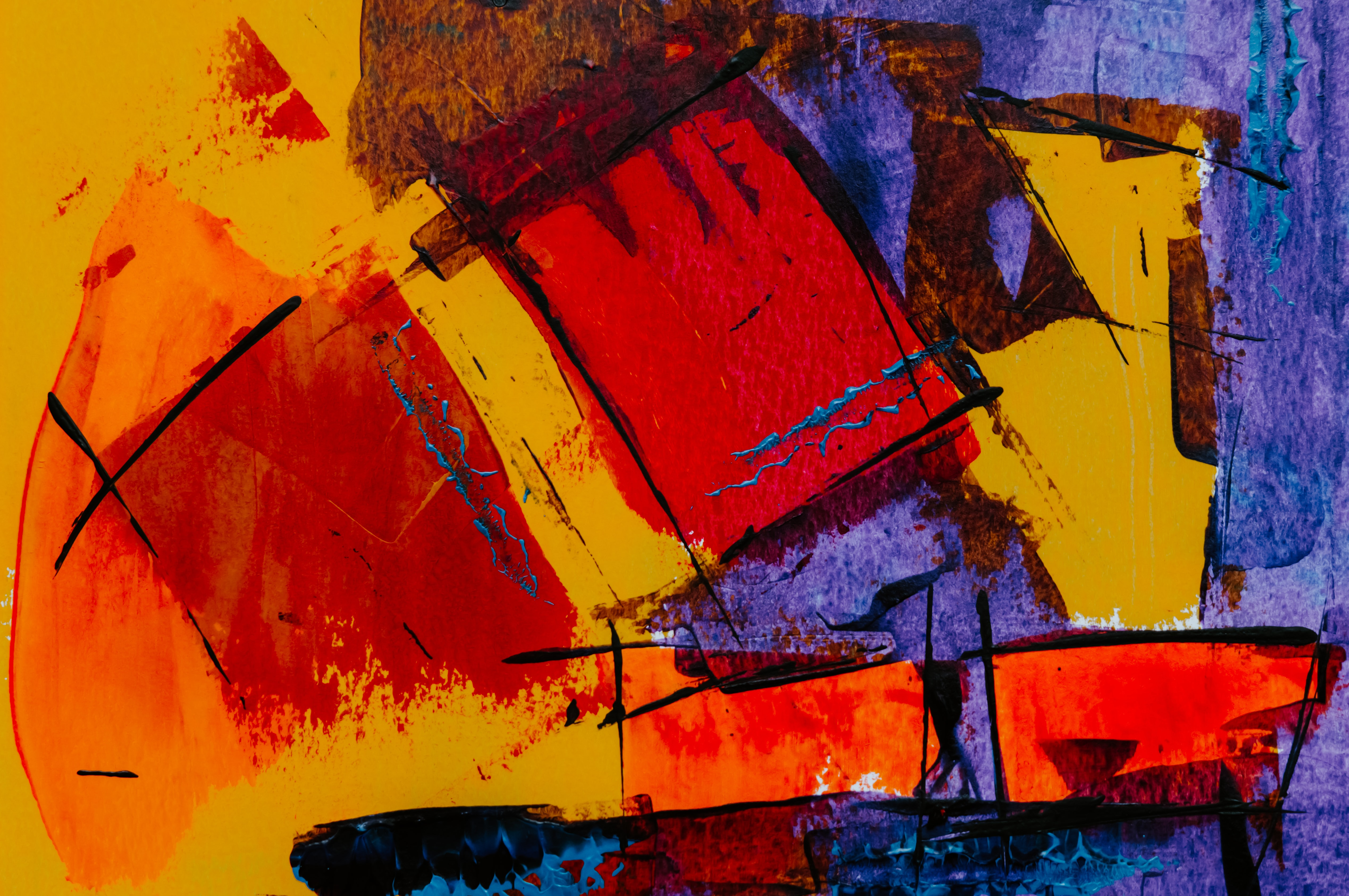 red and blue abstract painting