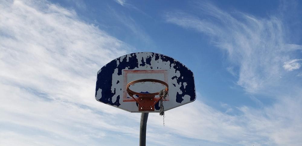 white and black portable basketball hoop