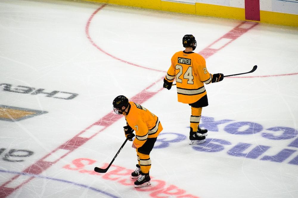 2 ice hockey players on wrink