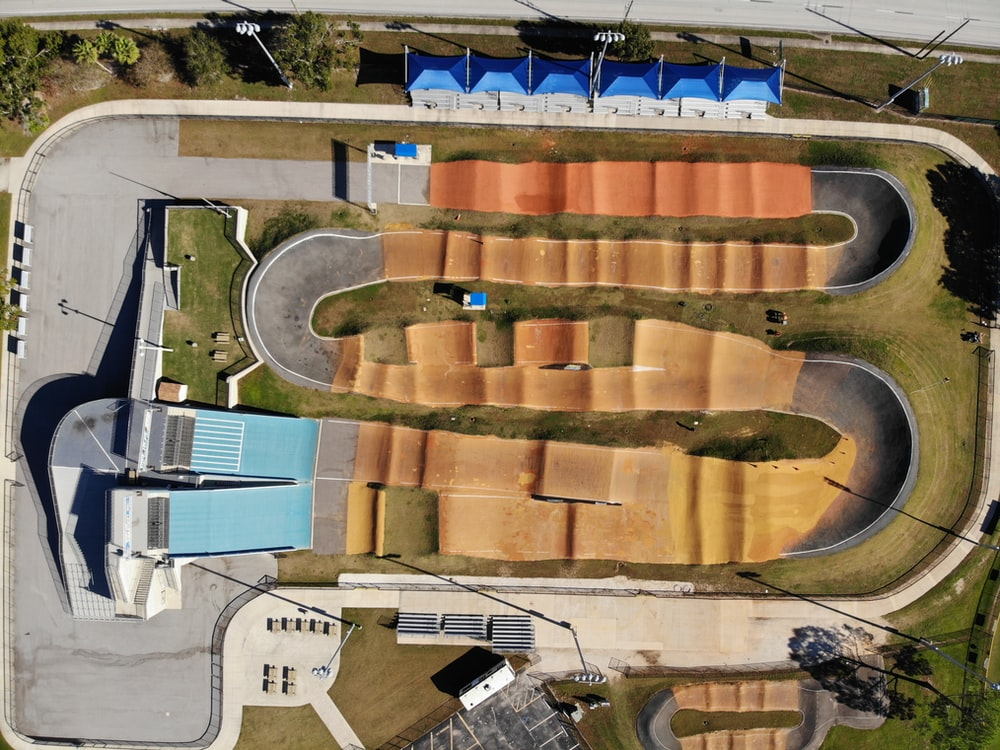 birds-eye view of motocross race track