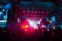 people standing in front of lighted Super Strawberry Music Festival stage