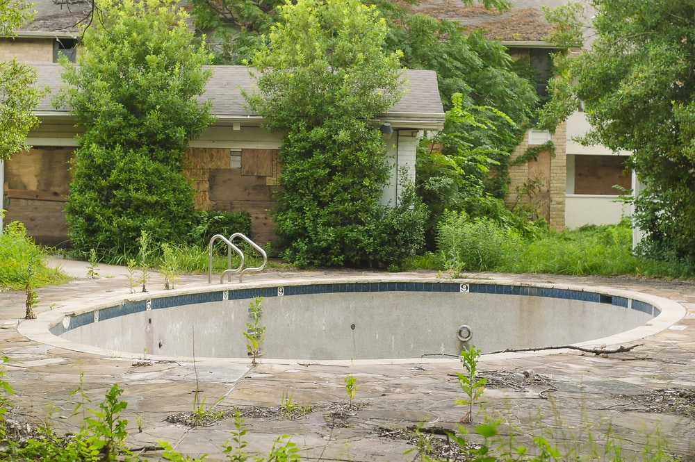 empty round pool at the backyard
