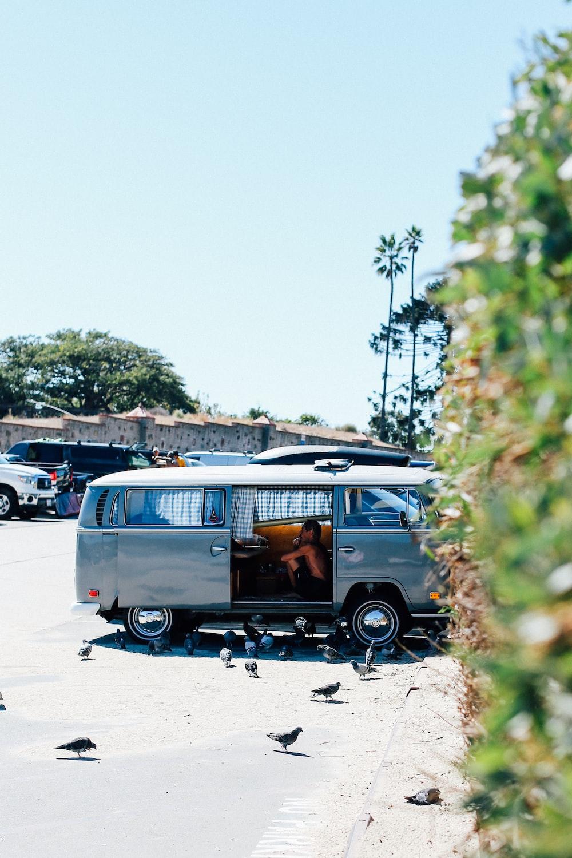 open silver Volkswagen van in parking lot