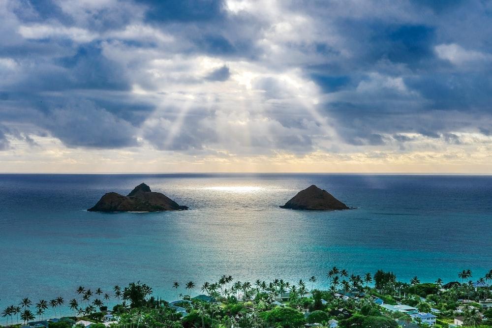 aerial island and beaches