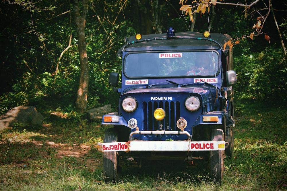 blue police car near tall trees