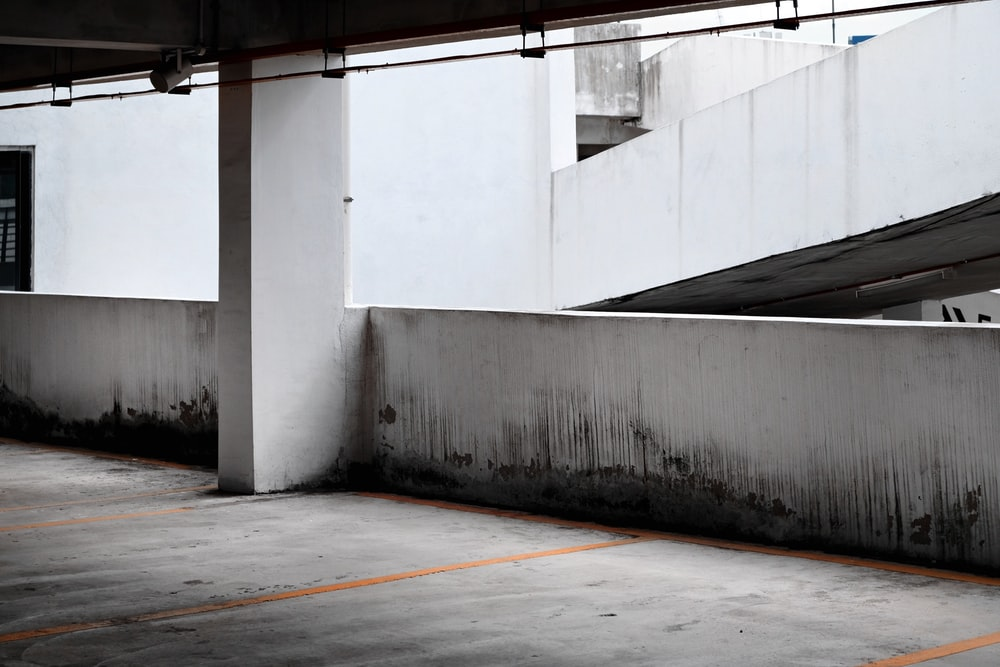 black and white photo of concrete building with no people