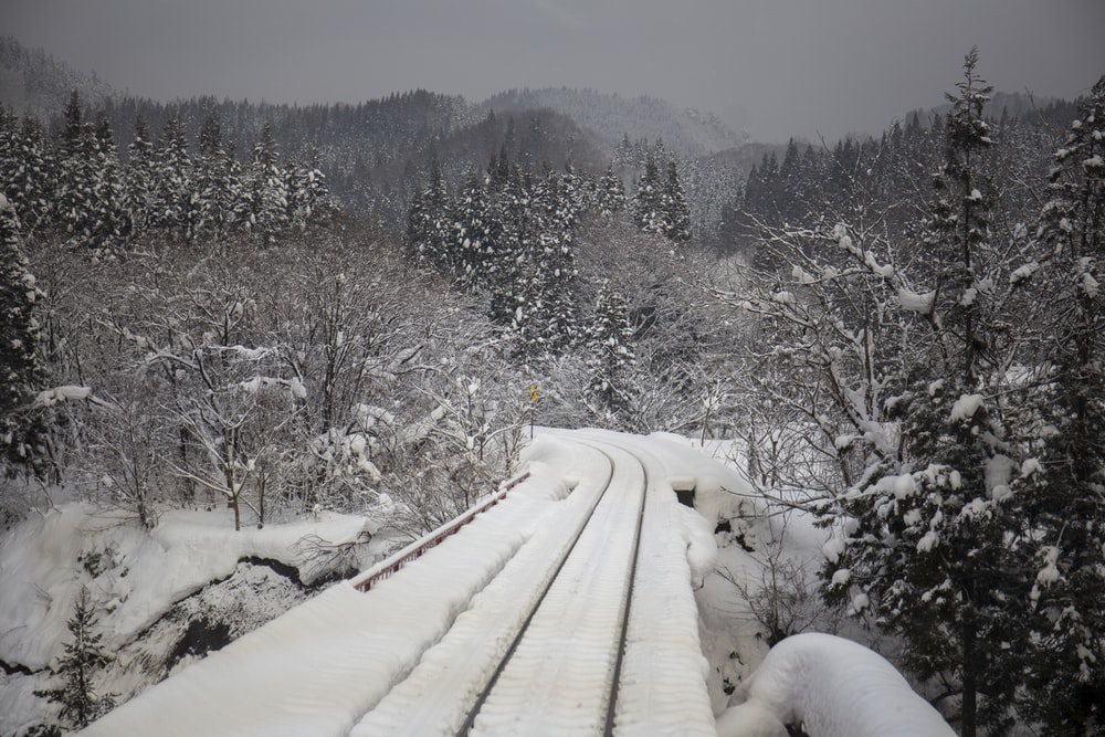 snow covered train tracks and countryside