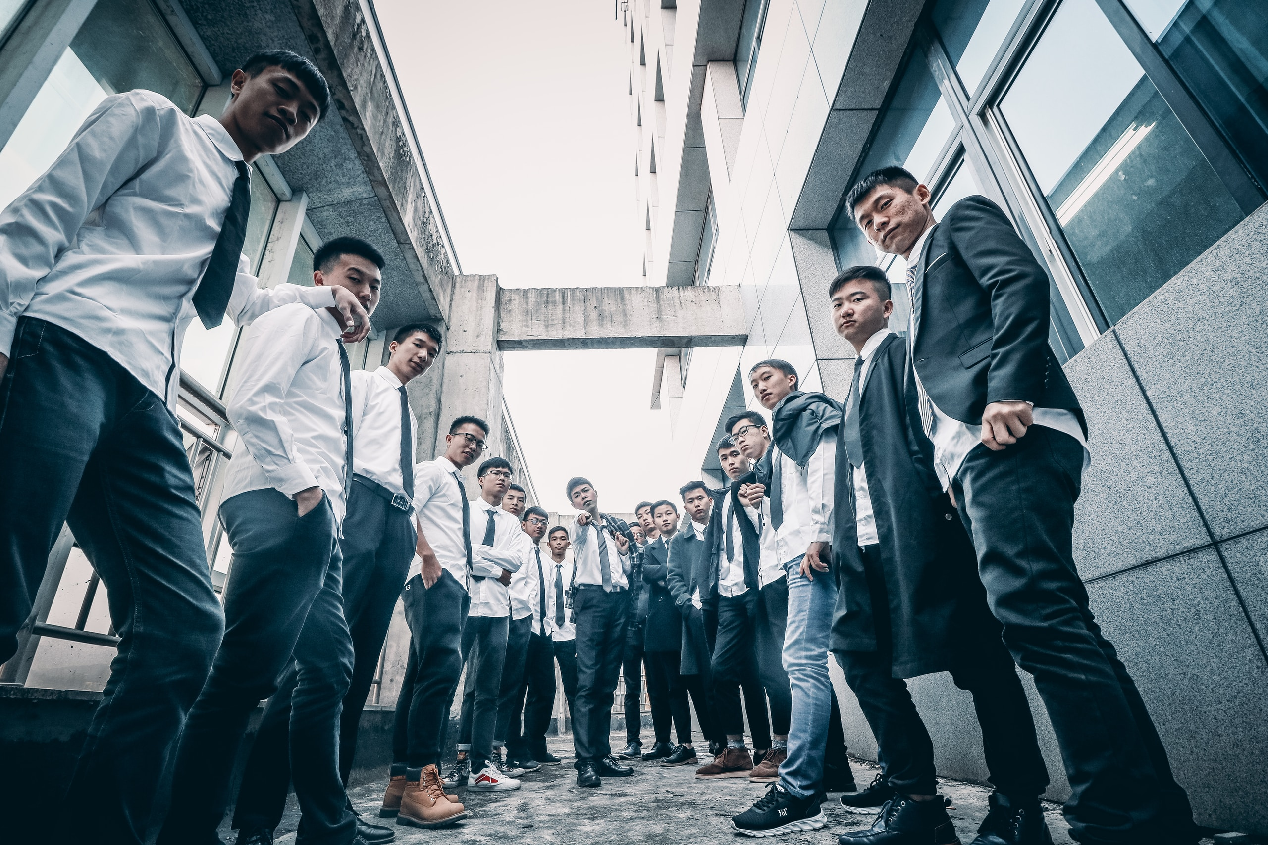 group of students outside building