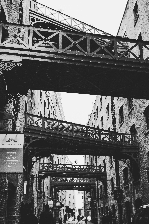bridges grayscale photography