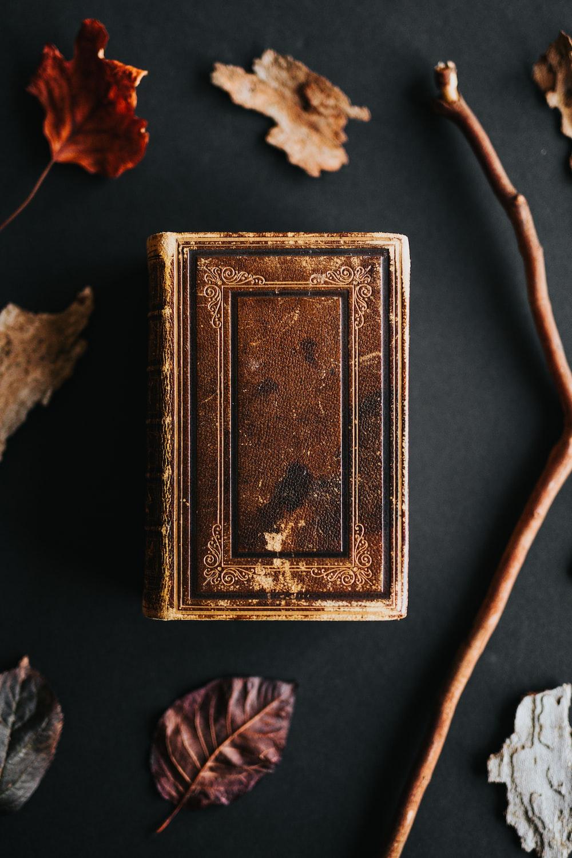 brown book beside brown rod