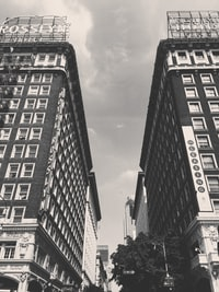 two high rise buildings grayscale photo