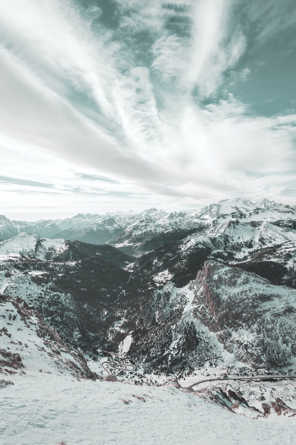 aerial photography of snow-covered mountain during daytime