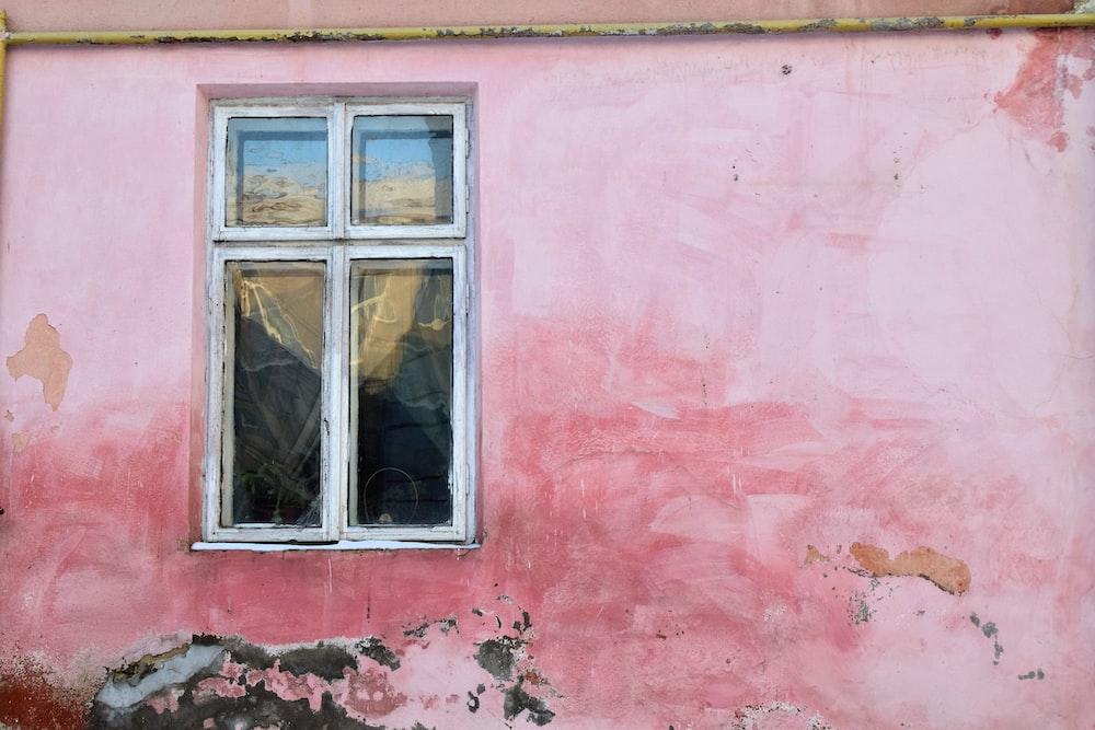 gray-framed glass window door