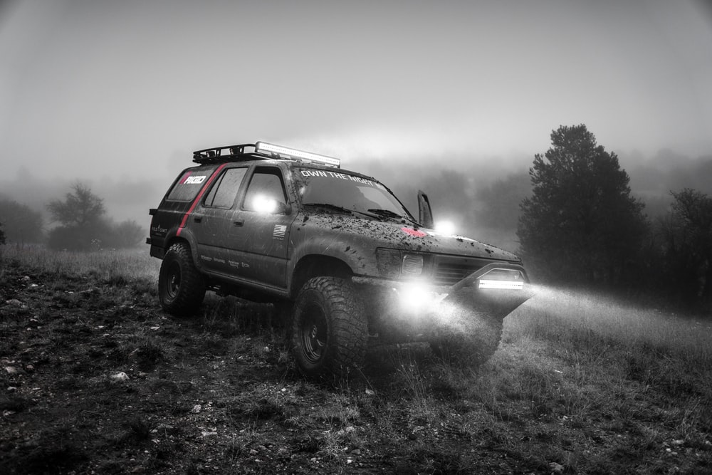 grayscale photography of SUV near forest