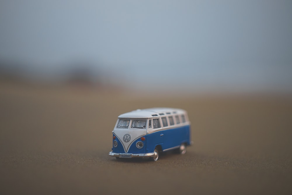 blue and white Volkswagen T1 miniature