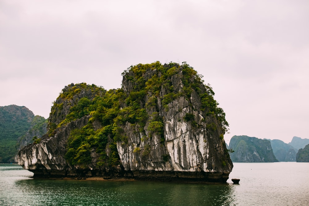 white rock formation between island