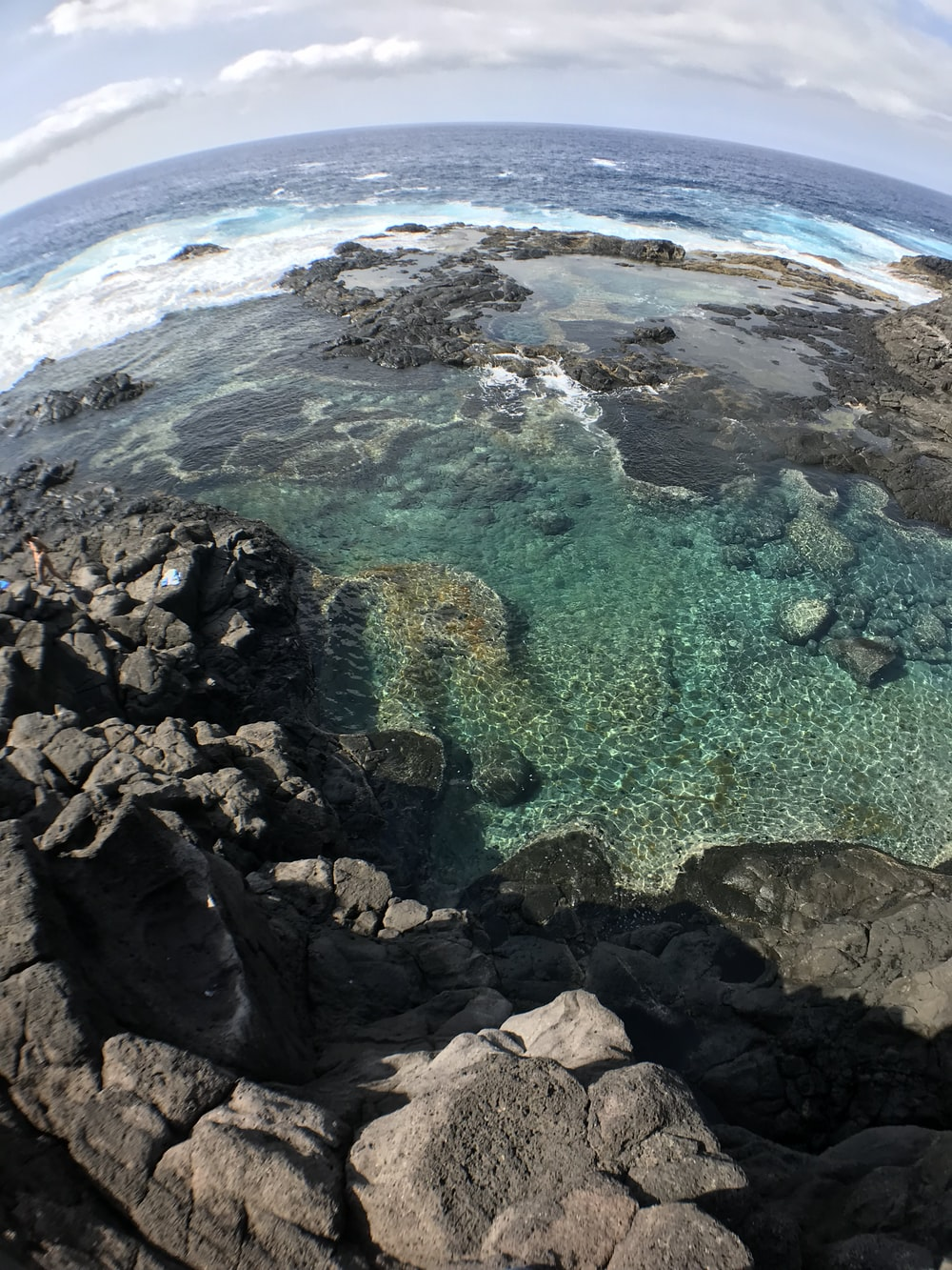 fish-eye photography of body of water