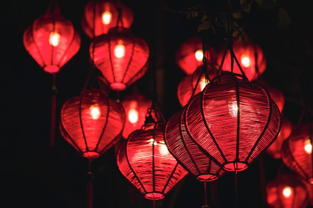 Lanterns along the water in Hanoi, Vietnam.