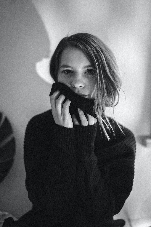 woman in knit sweater