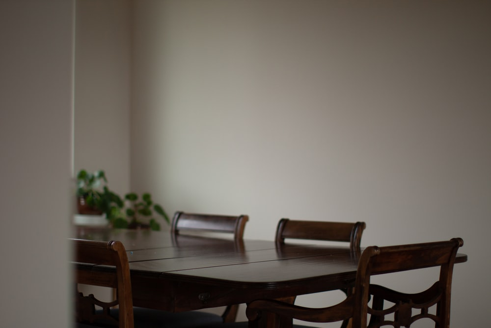 empty black wooden dining set