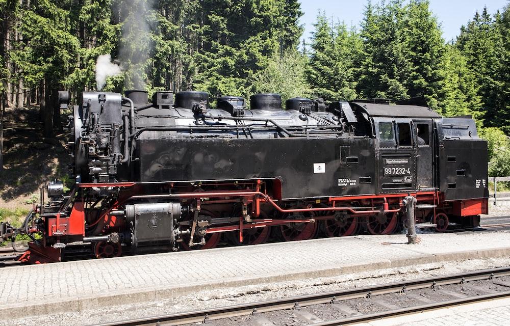 moving black train