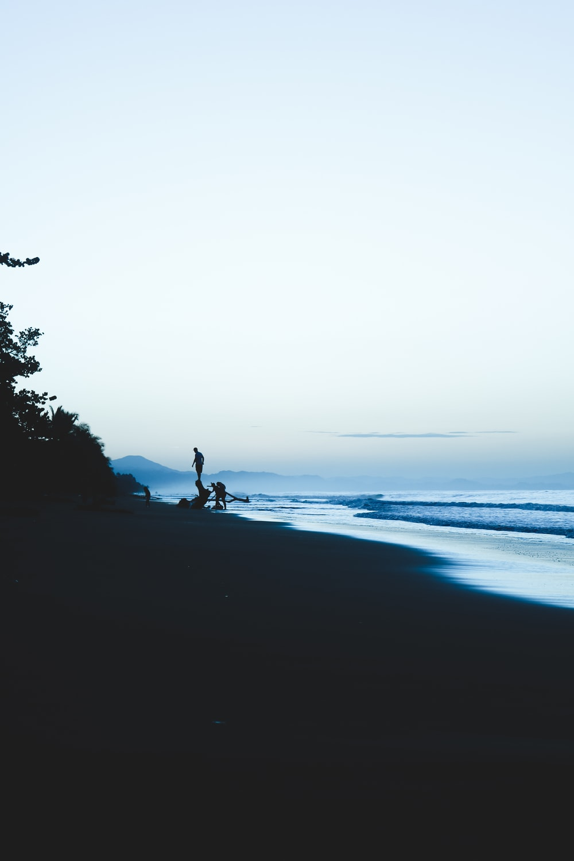 silhouette of people on seashore