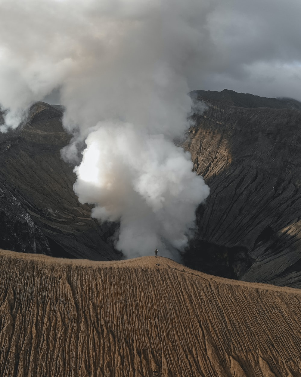 volcano with smoke in nature photography