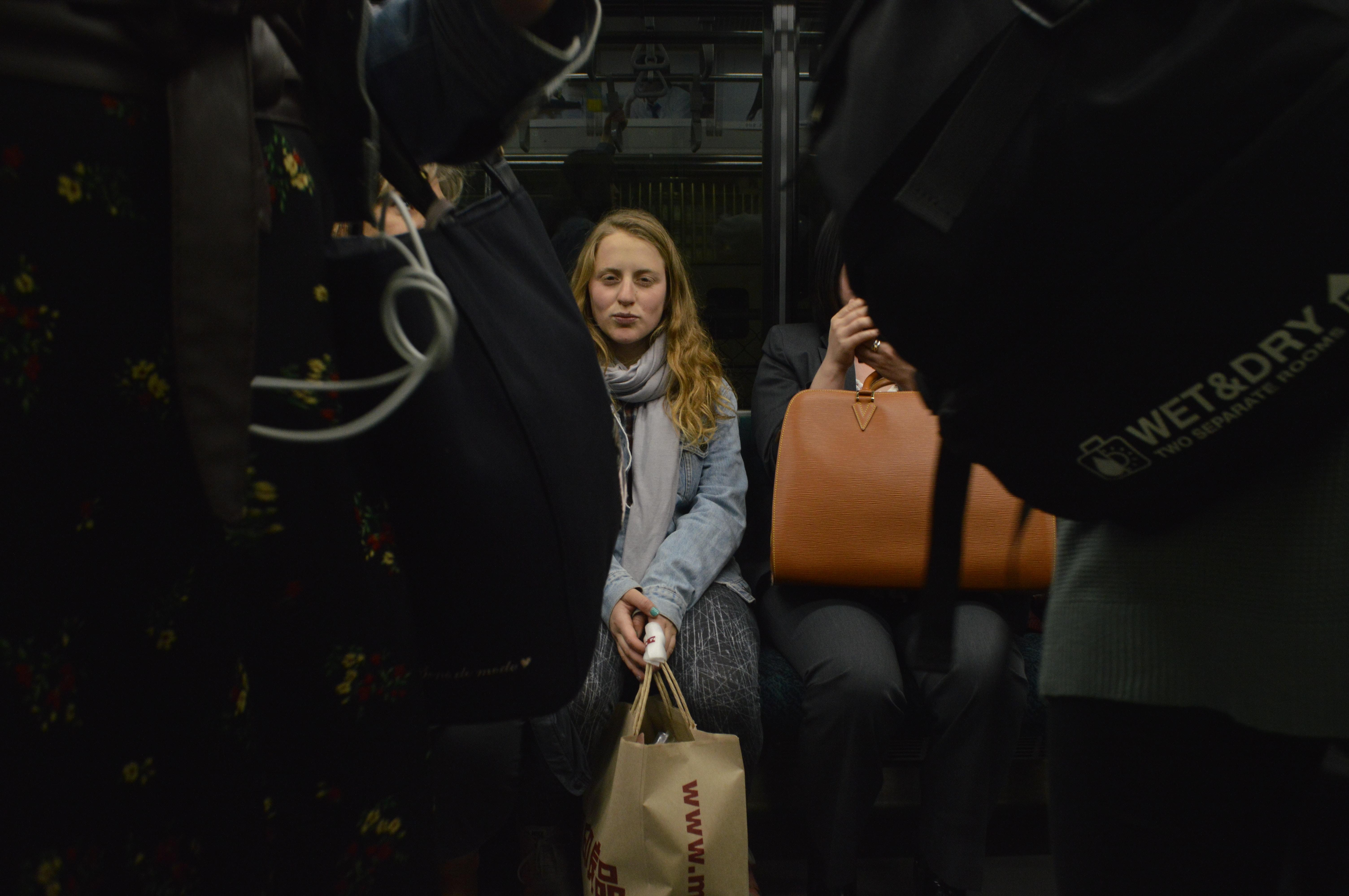 woman inside public transportation