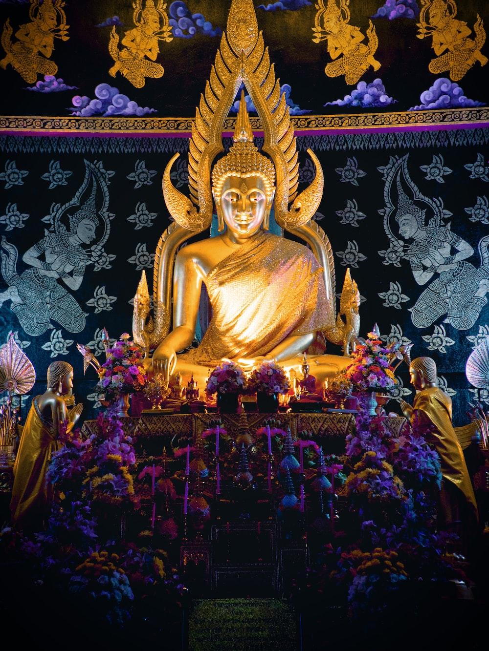 lighted buddha statue
