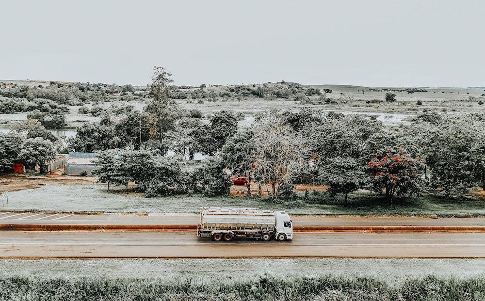 truck on road near trees