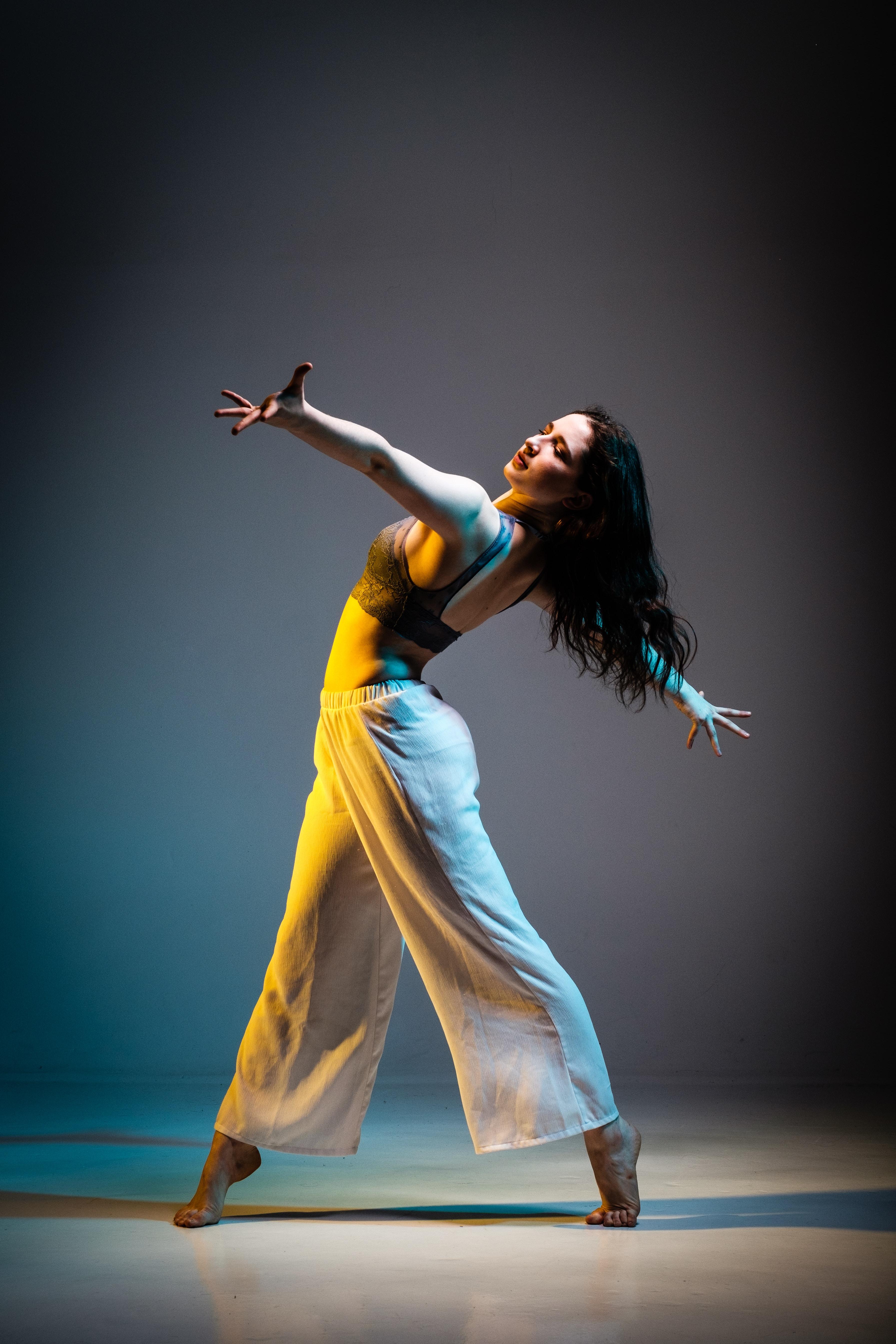 women's orange and blue sleeveless dress