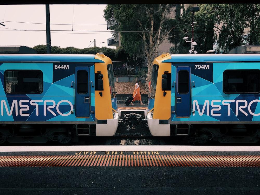 blue metro train
