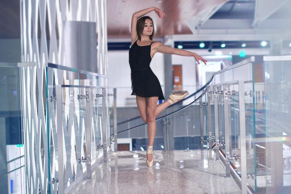 ballerina performing inside building