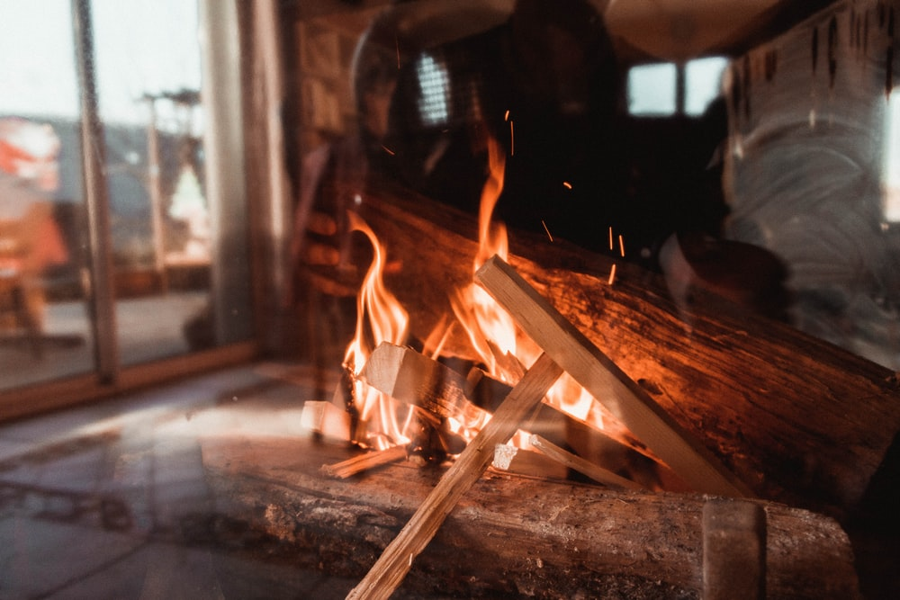 burning fire behind glass