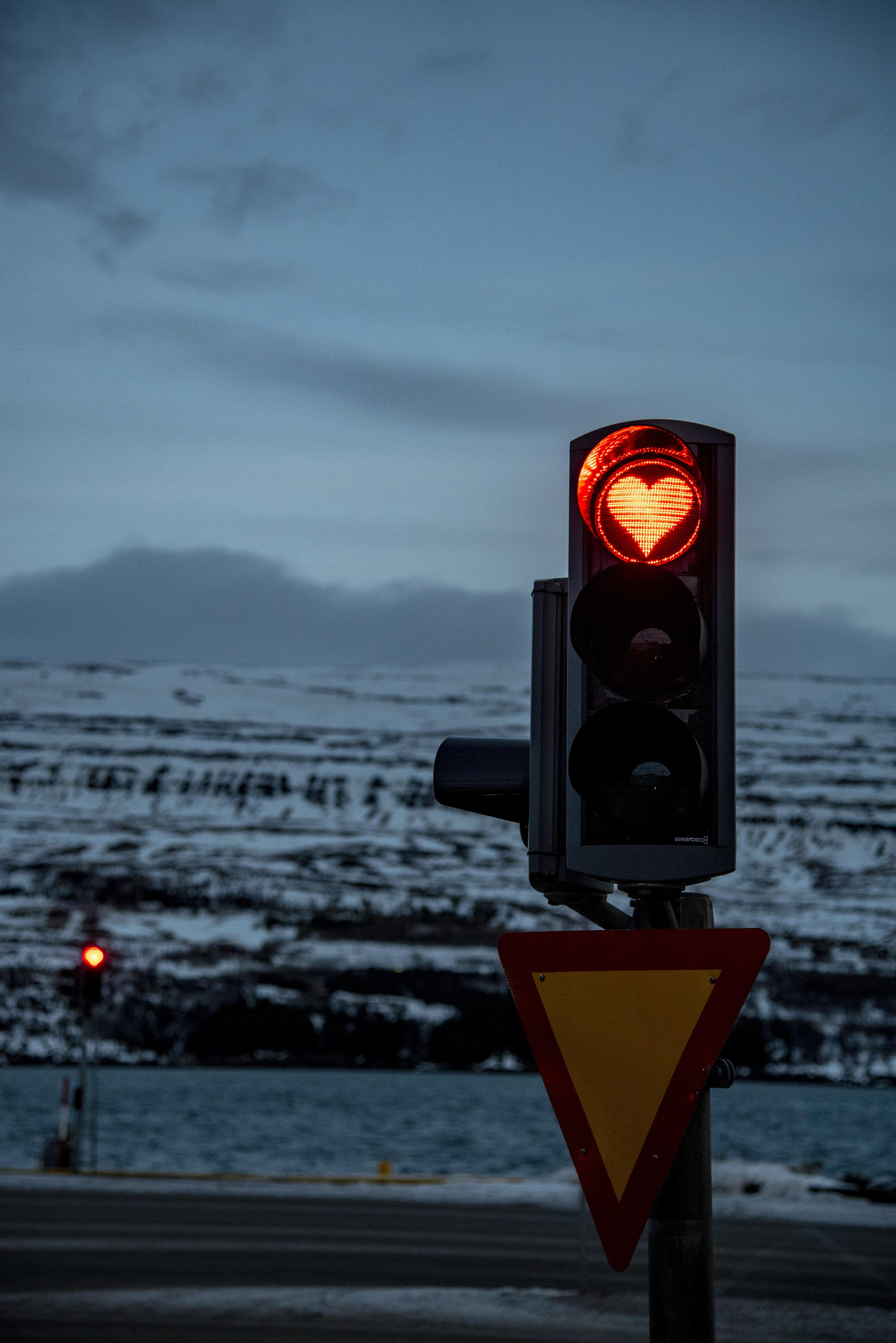 traffic light displaying orange heart