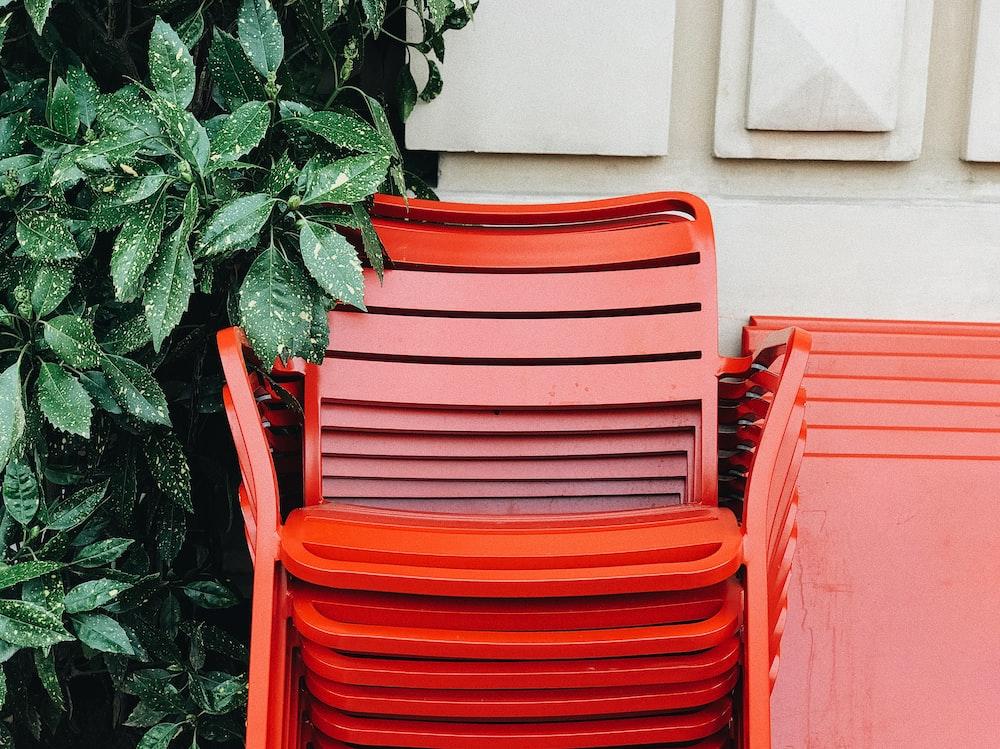 orange metal armchair