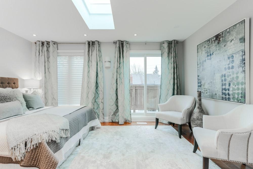 open window curtain in room