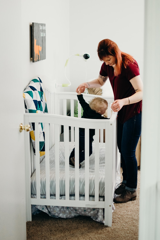 baby's inside wooden crib