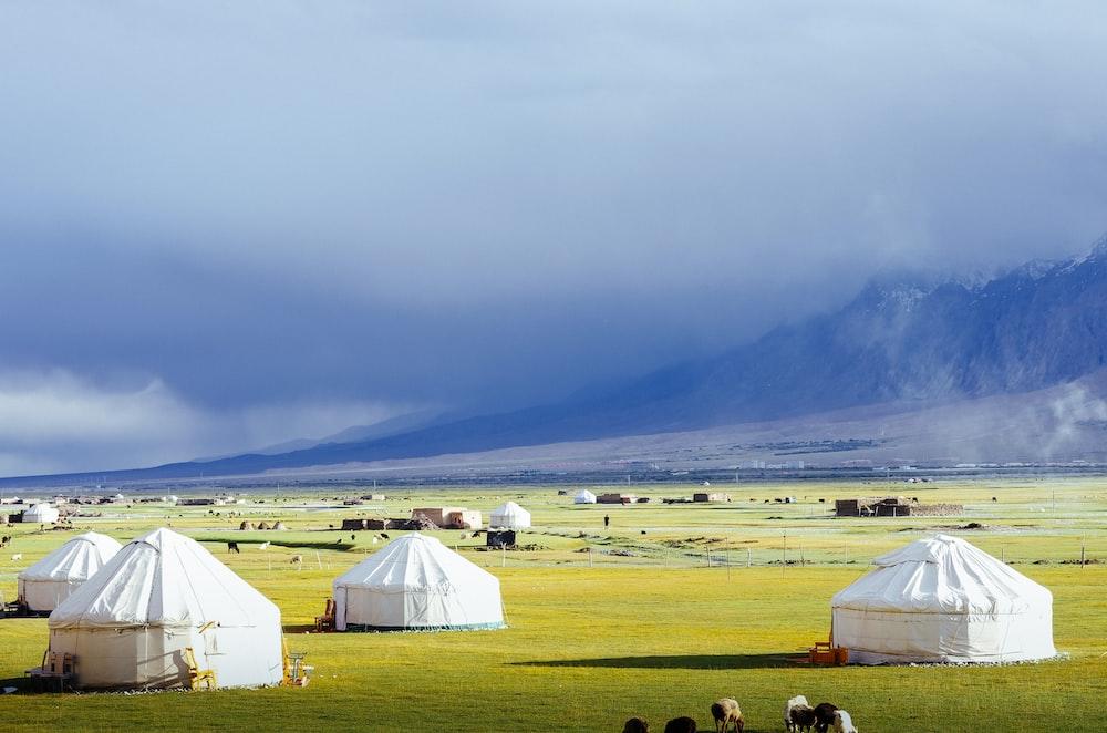 white dome tent lot