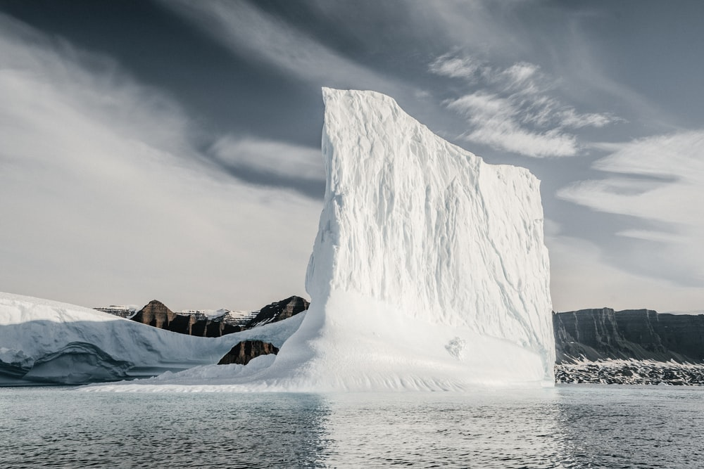 glacier on top of water