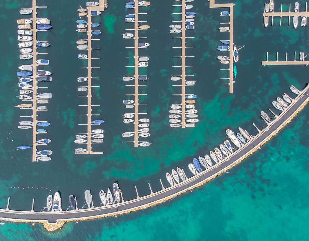 boats in wooden dock in high-angle view photo