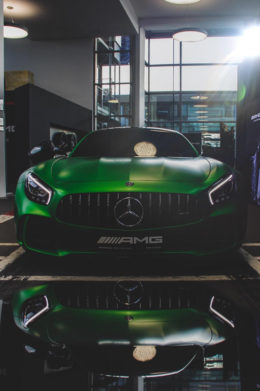 green Mercedes-Benz car