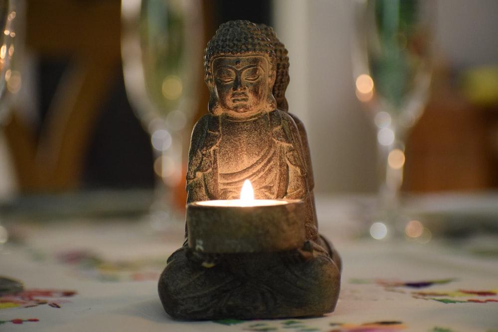 ceramic buddha figurine with light