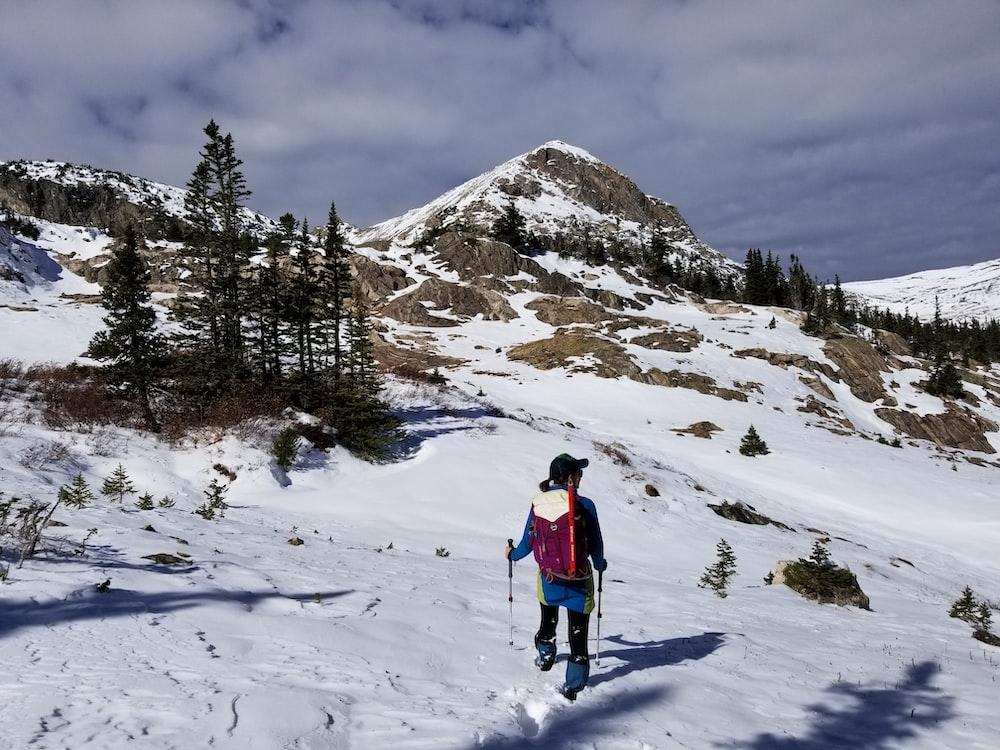 person on glacier mountain
