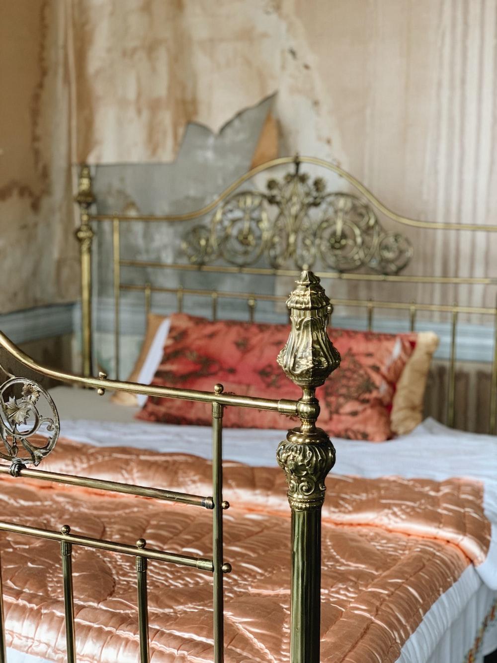 brown metal bed