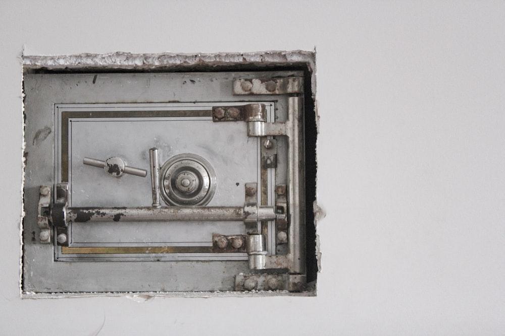 closed gray safety vault