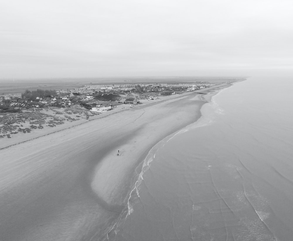 grayscale photo of seashore during daytime