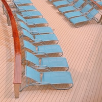 lined blue pool loungers